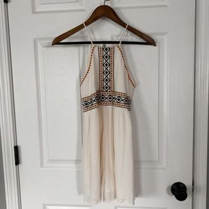Xhilaration Pants - Cream Embroidered Romper (with pockets)